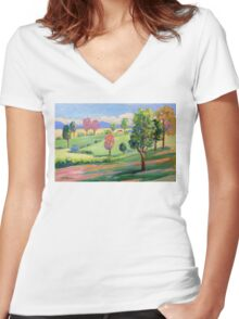 Tamborine Mountain Golf Course  Women's Fitted V-Neck T-Shirt