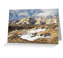 Split Mountain with Snow & Grass Greeting Card