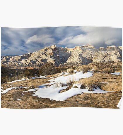 Split Mountain with Snow & Grass Poster