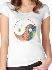 Yin And Yang - Colorful Peace - By Sharon Cummings Women's Fitted Scoop T-Shirt