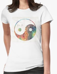 Yin And Yang - Colorful Peace - By Sharon Cummings Womens Fitted T-Shirt