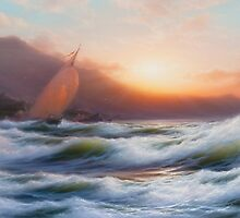 A Sail, Seascape, by Oleksandr Levin