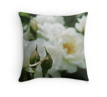 White Buds and a Rose Throw Pillow