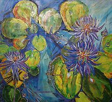 PURPLE LOTUS FLOWERS 30X36acrylic on canvas by eoconnor