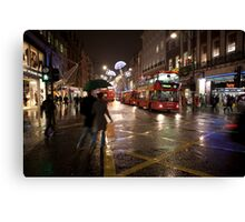 Christmas shopping on Oxford Street Canvas Print