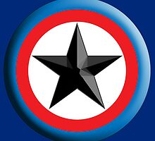 Bulls Eye, Right on Target, Roundel, Archery, Star, on Dark Blue by TOM HILL - Designer