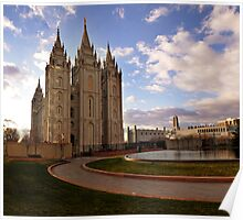 Salt Lake Temple - Reflecting Pool Poster