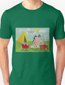 illustration on black humor, a cannibal who prepares dinner, skeleton, skull, dog, sun, clouds, blood, bones, tv, film, humor, funny, pot, fire, cooking, kitchen, dish tv T-Shirt