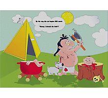 illustration on black humor, a cannibal who prepares dinner, skeleton, skull, dog, sun, clouds, blood, bones, tv, film, humor, funny, pot, fire, cooking, kitchen, dish tv Photographic Print