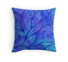 Dark blue doodle waves on watercolor background Throw Pillow