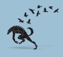 Werewolf Running from Ravens T-Shirt