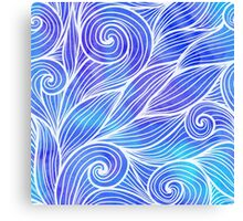 Light blue doodle hair waves Canvas Print