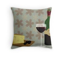 cheese and wine Throw Pillow