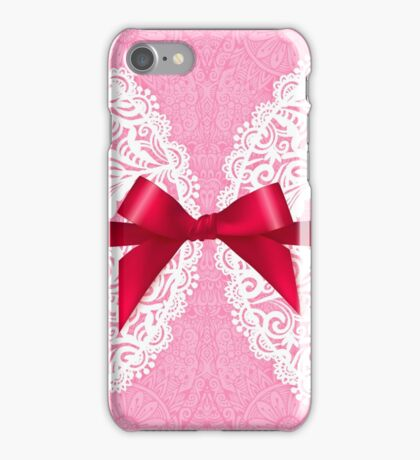 Pink lacy napkin with red bow iPhone Case/Skin