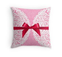 Pink lacy napkin with red bow Throw Pillow