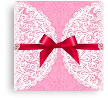 Pink lacy napkin with red bow Canvas Print