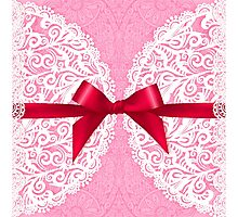 Pink lacy napkin with red bow Photographic Print