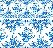 Blue floral design in Russian gzhel style by 1enchik