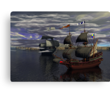 HMS Prince William and the Flying Dutchman poster version Canvas Print
