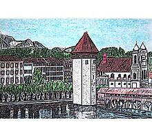 Covered Bridge on Lake Lucerne Switzerland Photographic Print