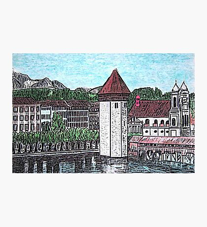 Covered Bridge on Lake Lucerne Switzerland Photographic Print