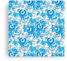 Blue floral design in Russian gzhel style Canvas Print