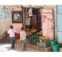 Symbols on the wall (9) - fruit and veg shop in Ibb Photographic Print