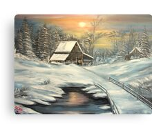 Winter in North Idaho  oil Canvas Print