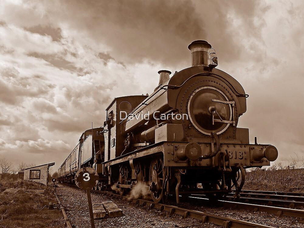 Steam train passing in Sepia by buttonpresser