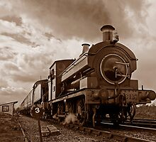 Steam train passing in Sepia by buttonpresser