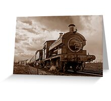 Steam train passing in Sepia Greeting Card