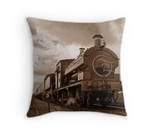 Steam train passing in Sepia Throw Pillow