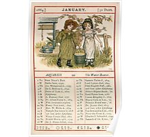 Kate Greenaway Almanack 1880 0007 January Poster