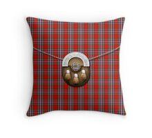 Clan MacFarlane Red Tartan And Sporran Throw Pillow