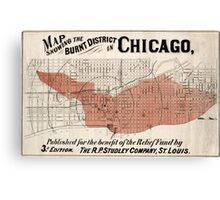 Chicago Map from 1871 after fire Restored Canvas Print