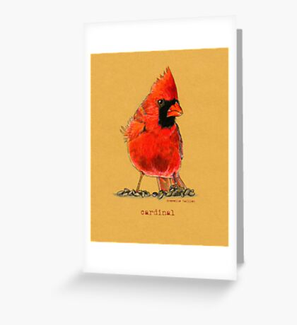 Cardinal in colored pencil  Greeting Card
