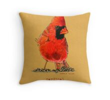 Cardinal in colored pencil  Throw Pillow