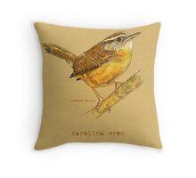 Carolina Wren Bird Throw Pillow