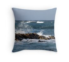 Waves, St Combs beach Aberdeenshire Throw Pillow
