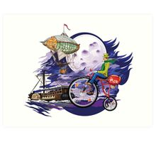 fly to the moon design t-shirt Art Print