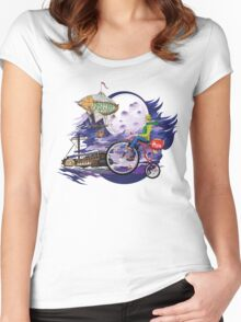fly to the moon design t-shirt Women's Fitted Scoop T-Shirt