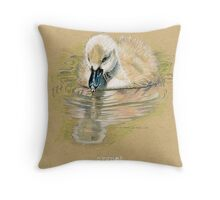 Cygnet, Baby Swan, in colored pencil and pen and ink Throw Pillow