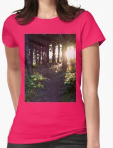 Sun down through the woods Womens Fitted T-Shirt