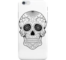 Sugar Skull Tattoo (Day of the Dead) - Black Outline iPhone Case/Skin