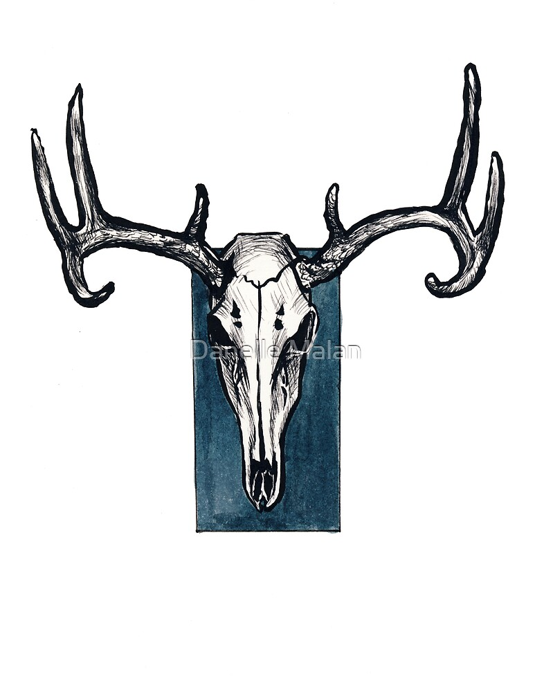 Stag Skull with Blue by Danelle Malan
