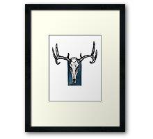 Stag Skull with Blue Framed Print
