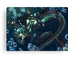 Merman and the seaman Canvas Print