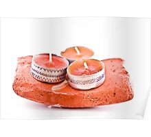 Hand-painted candles on a stone Poster