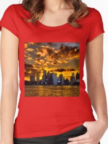 Sunset over Boston Harbor Women's Fitted Scoop T-Shirt