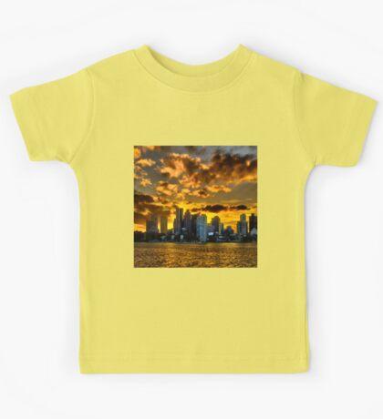 Sunset over Boston Harbor Kids Tee